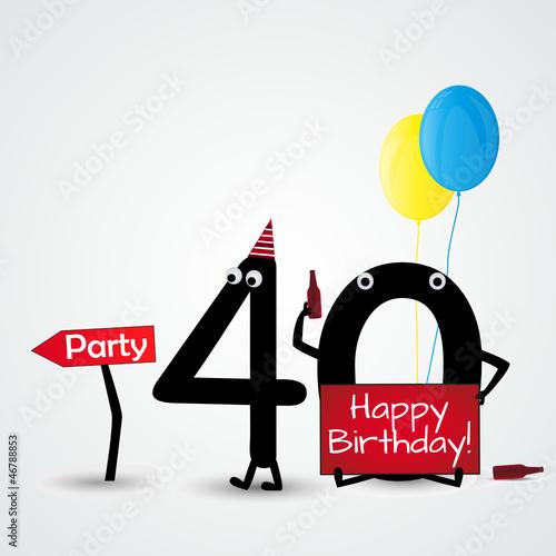 Fotografia  40 birthday card numbers