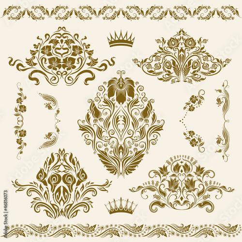 Fotografía  Set of vector damask ornaments.
