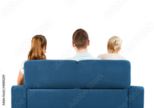 Admirable Three People Sitting On A Sofa Back White Background Buy Ocoug Best Dining Table And Chair Ideas Images Ocougorg