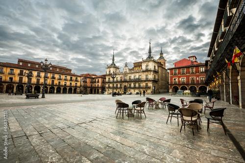 Fotografie, Obraz  Plaza Mayor(main square) in Leon, Castilla y Leon, Spain