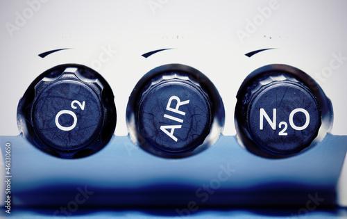 Air, oxygen, nitrous oxide - medical gases. concept. Wallpaper Mural