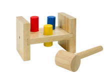 Wooden Xylophone Toy With Hammer Isolated