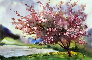 Fototapeta Wiejski Watercolor painting landscape