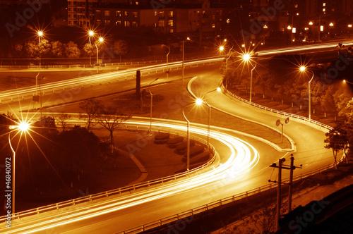 Keuken foto achterwand Nacht snelweg Highway light trails