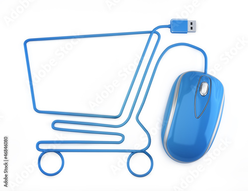 Fotografering  Online shopping, blue mouse in the shape of a shopping cart