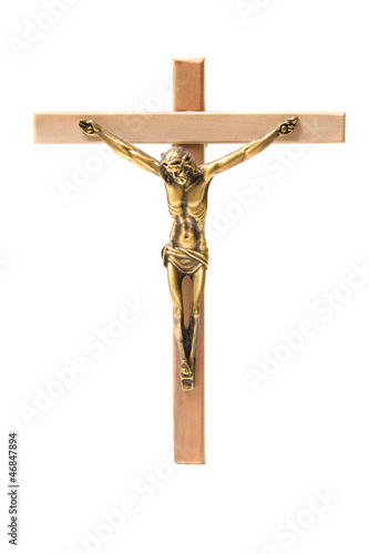 Fotografie, Obraz  Bronze And Wooden Crucifix