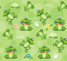 Frogs And Toads. Seamless Pattern. Vector Illustration.