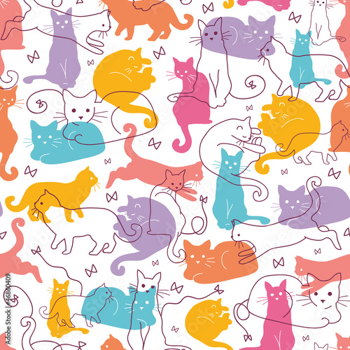 Printed kitchen splashbacks Cats Vector Colorful Cats Seamless Pattern Background. Cute, hand