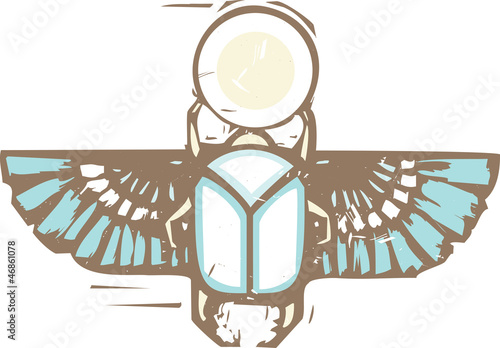 Fotomural Egyptian Distressed Winged Scarab