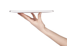 Side View Of Tablet Computer With Hand