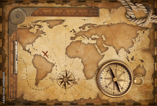 Fotografie, Obraz  aged treasure map, ruler, rope and old brass compass still life