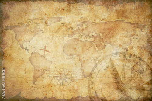 Photo Stands World Map aged treasure map, ruler, rope and old brass compass still life