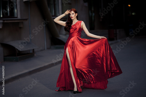 Photo  Young Beauty Famous Woman In Red Dress Outdoor