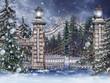 Stara brama ze świątecznymi choinkami