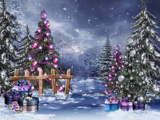 Zimowy las ze świątecznymi ...