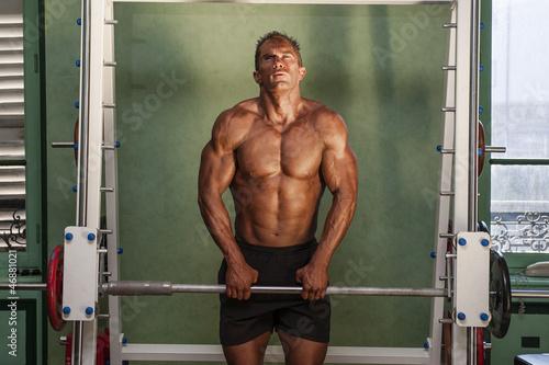 Fototapeta homme non voyant faisant de la musculation