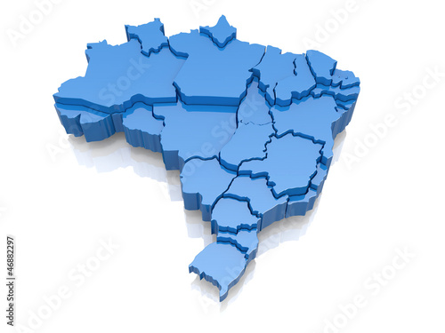 Foto  Three-dimensional map of Brazil