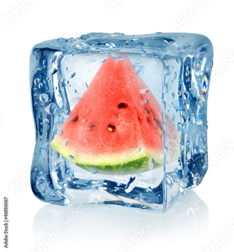 Staande foto In het ijs Ice cube and watermelon