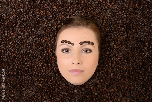 Printed kitchen splashbacks Coffee beans coffee bean with sexy woman