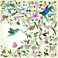Panel Szklany Ornamenty Floral background with bird