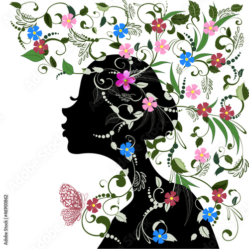 Poster Bloemen vrouw Floral hairstyle, girl and butterfly