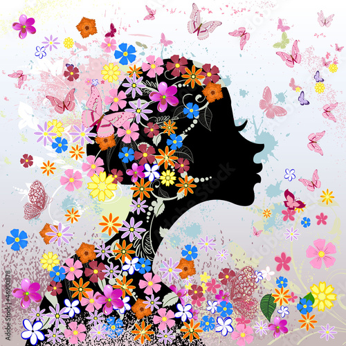 Foto op Canvas Bloemen vrouw Floral hairstyle, girl and butterfly