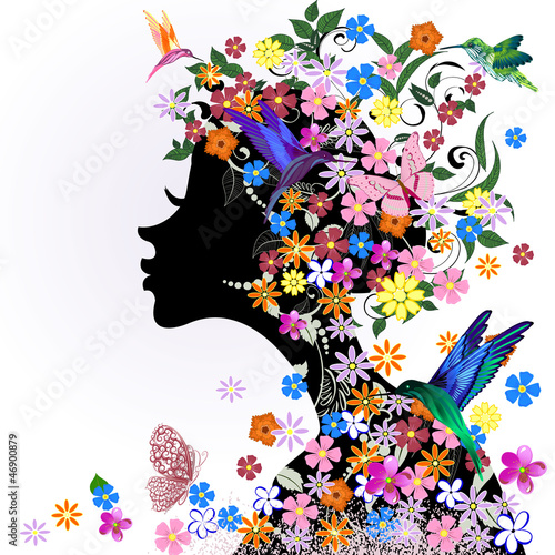 Recess Fitting Floral woman Floral hairstyle, girl and butterfly bird