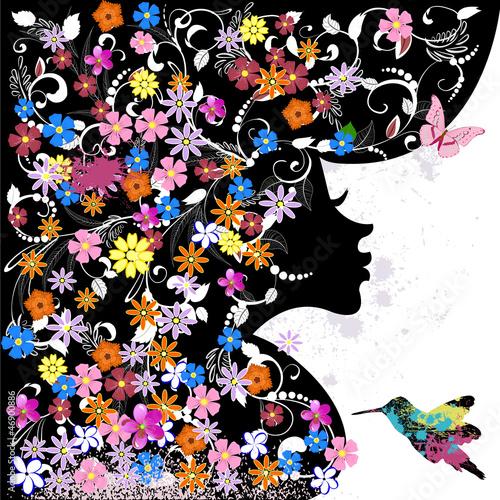 Foto op Aluminium Vlinders in Grunge Floral hairstyle, girl and grunge bird