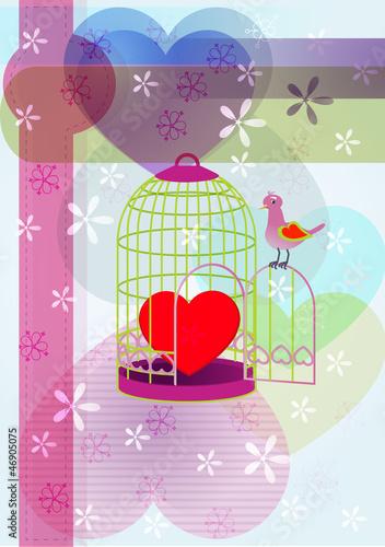 In de dag Vogels in kooien heart&cage