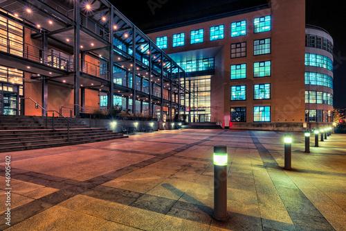 Modern architecture in Zurich at night