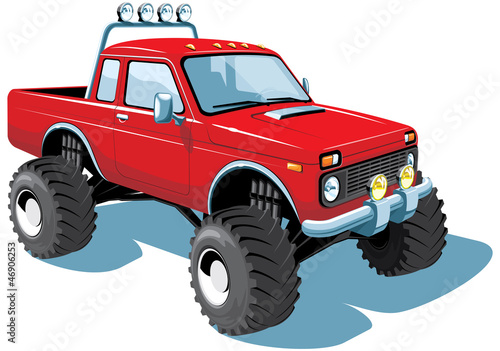 Deurstickers Cartoon cars Vector isolated monster truck