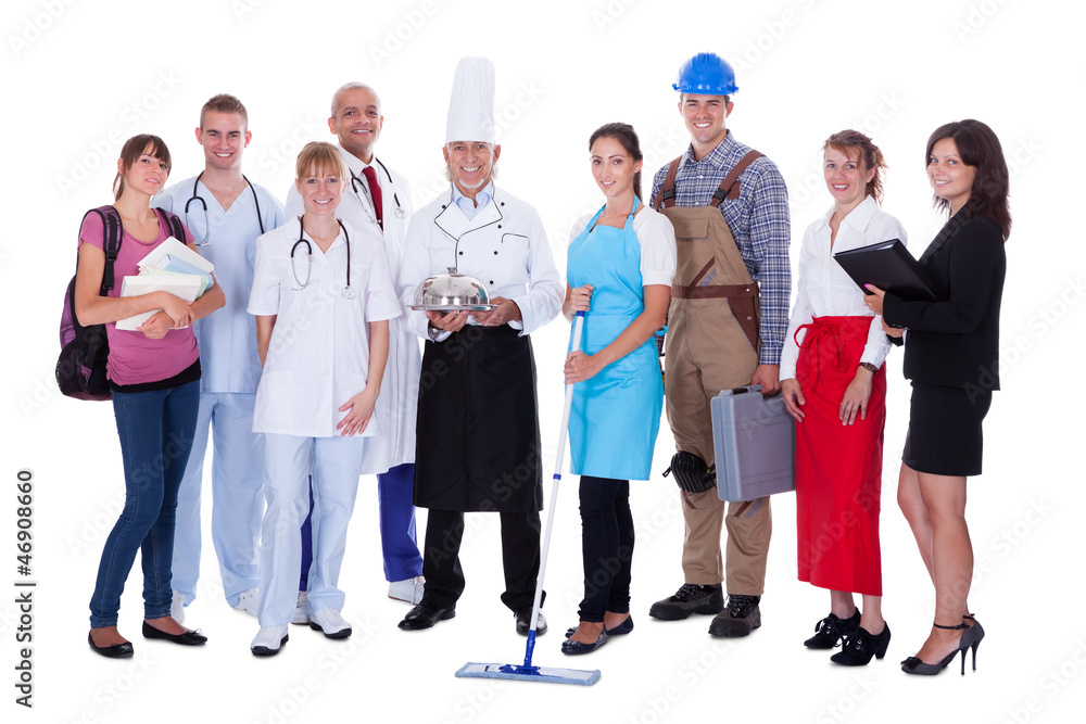 Fototapeta Group of people representing diverse professions