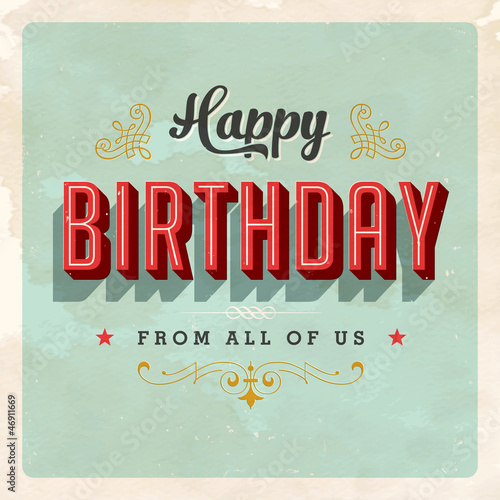 Birthday Card - Vector EPS10 - Grunge effects can be removed Poster