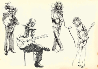 Fototapeta na wymiar musicians - collection of hand drawings into vector