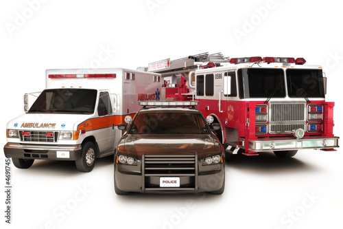 Photo  First responder vehicles, on a  white background