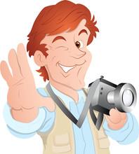 Male Cartoon Photographer