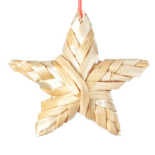 Straw Christmas Star. On A Whi...