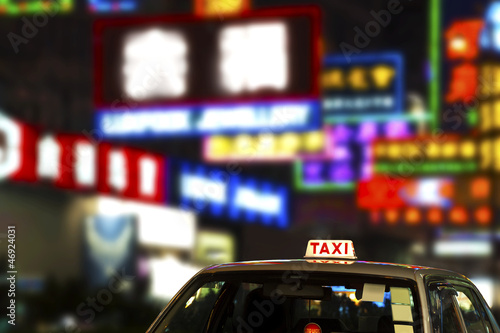 Spoed Foto op Canvas Hong-Kong Taxi in Hong Kong