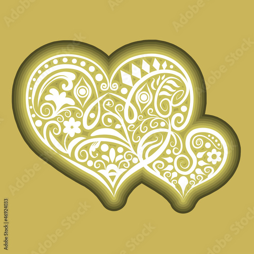Two hearts icon ornament