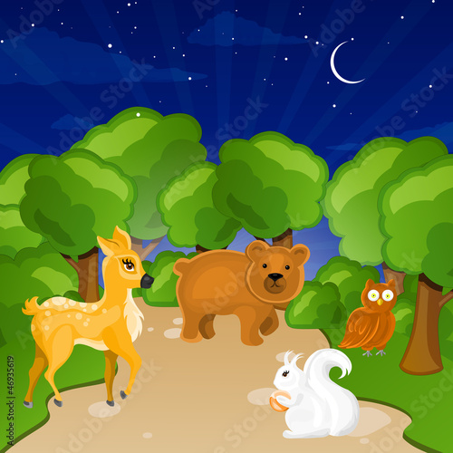 Poster Bosdieren Vector Illustration of Forest Animals