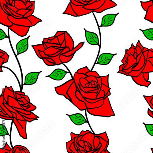 Keuken foto achterwand Abstract bloemen Beautiful seamless wallpaper with rose flowers