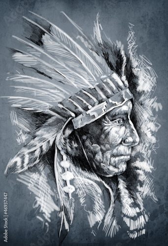 sketch-of-tattoo-art-native-american-indian-head-chief-dirty