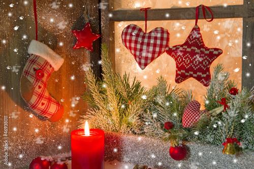 Foto-Tischdecke - Weihnachten - klassisch in Rot mit Schnee (von Jeanette Dietl)