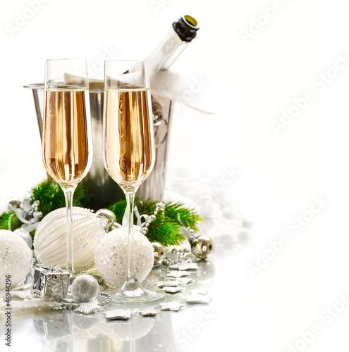 Fotografía  New Year Celebration. Two Champagne Glasses