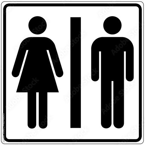 Fotografía  Schild weiß - Toilette Damen / Herren