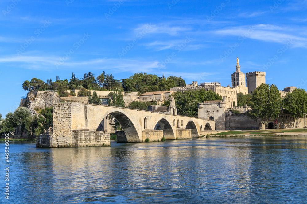 Fototapety, obrazy: Avignon Bridge with Popes Palace, Pont Saint-Bénezet, Provence,