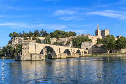 Avignon Bridge with Popes Palace, Pont Saint-Bénezet, Provence, Canvas Print