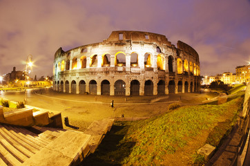 Fototapeta na wymiar Lights of Colosseum at Night