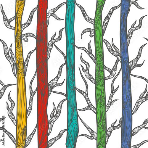 In de dag Vogels in het bos Texture with tress