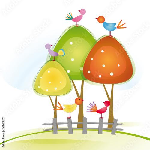 Poster Vogels, bijen Birds